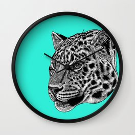 Amur leopard cub - turquoise - big cat Wall Clock