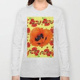 MODERN ART POPPIES GARDEN GREY DESIGN Long Sleeve T-shirt