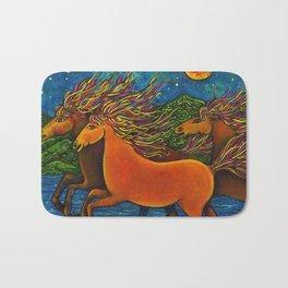 Wild Horses in the Moonlight Bath Mat