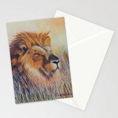 Lion sun bathing | Bain de soleil Lion Stationery Cards