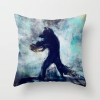 rocket raccoon Throw Pillows featuring Rocket Raccoon by Luca Leona
