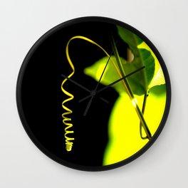 Spring! Green Leaf On A Black Background #decor #society6 Wall Clock