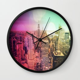 New York City Rainbow Bokeh Wall Clock
