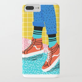 Toe Drag - memphis throwback fashion shoes retro pattern grid pink bright neon hipster iPhone Case
