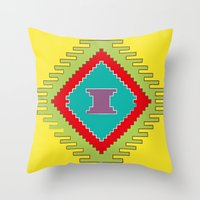 kilim Throw Pillows featuring Persian Kilim - Yellow Background by Katayoon Photography