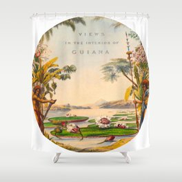 Historical Vintage Hand Drawn Illustration of Guyana South America Natural Scenes Shower Curtain