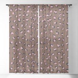 Little leopard skin pop trend animal fur panther maroon pink Sheer Curtain
