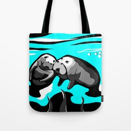 Manatee Love in blue Tote Bag