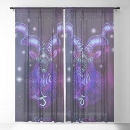 Zodiac neon signs — Capricorn Sheer Curtain