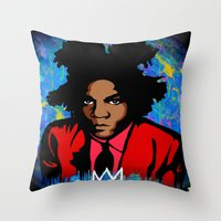 basquiat Throw Pillows featuring Basquiat by KgTheOctopus