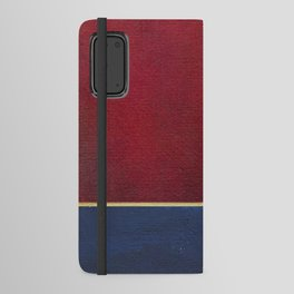 Deep Blue, Red And Gold Abstract Painting Android Wallet Case