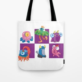 Six Silly Little Monsters Tote Bag