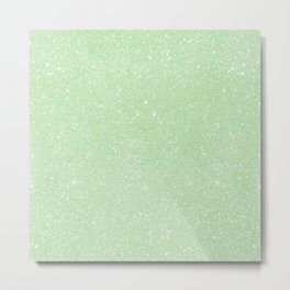 Pastel Tea Green Glitter Metal Print