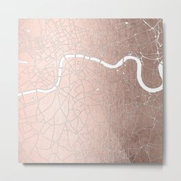 RoseGold on White London Street Map II Metal Print