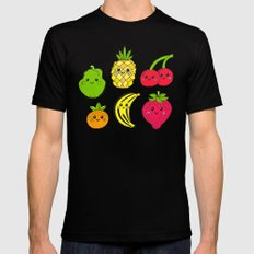 Kawaii Fruits MEDIUM Black Mens Fitted Tee