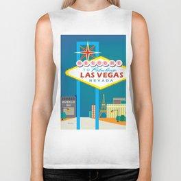 Las Vegas, Nevada - Skyline Illustration by Loose Petals Biker Tank