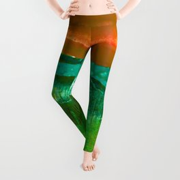 Encaustic Abstract No.27M by Kathy Morton Stanion Leggings