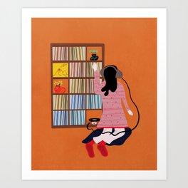 Record collector girl Art Print