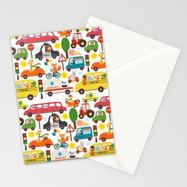 Busy City Zoo Animal Transportation Pattern Stationery Cards