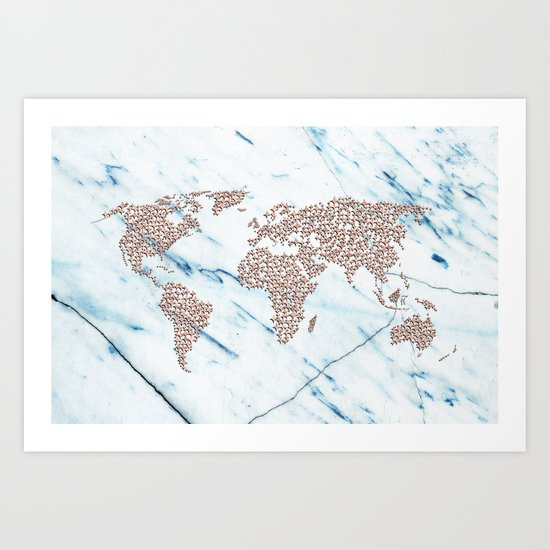 Rosegold Stars on Blue Marble World Map Art Print