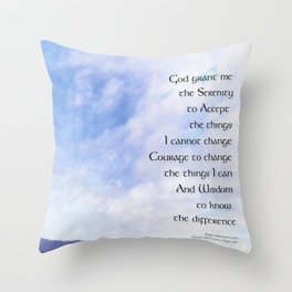 Serenity Prayer Blue Sky Gentle Clouds Throw Pillow