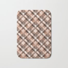 Beige, brown tartan plaid. Bath Mat