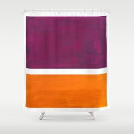 Purple Wine Yellow OchreMid Century Modern Abstract Minimalist Rothko Color Field Squares Shower Curtain