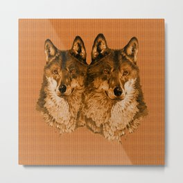 Season of the Wolf - Duet in Gold Metal Print