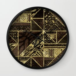 Ethnic Geometric Wooden texture pattern Wall Clock
