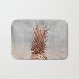 Pineapple in Glitter Marble Rose Gold And Concrete Bath Mat