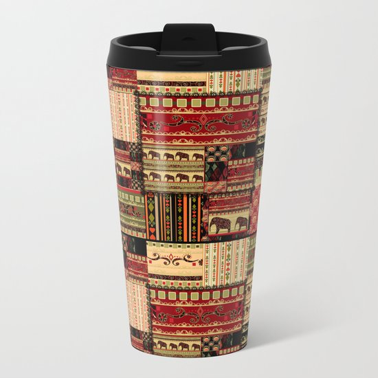 African motifs . Patchwork Metal Travel Mug