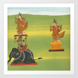 13 Lord of the South (Taungmagy nat) and 14 Maung Minshin nat (also called Shin Byu) from The thirty Art Print