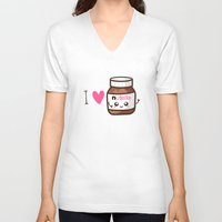 nutella V-neck T-shirts featuring Love Nutella by Kleviee