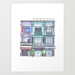 Colorful house with restaurant front view, travel sketch from Siem Reap, Cambodia Art Print