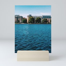 Painting of Danish Buildings along the Copenhagen Lakes, on a Clear and Sunny Summer's Day Mini Art Print