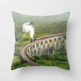 Hogwart Express steam engine in the scottish highlands Throw Pillow