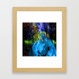 FANTASY HORSE BLUE I MET IN THE FOREST Framed Art Print