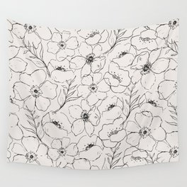 Floral Simplicity - Neutral Black Wall Tapestry