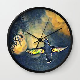 Golden Blue Hummingbird by CheyAnne Sexton Wall Clock