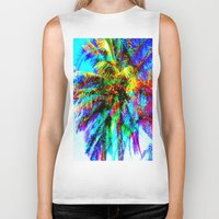 palm tree Biker Tanks featuring Palm Tree  by Nikki Hung