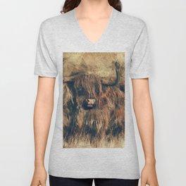 Highland Bull Art Unisex V-Neck