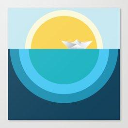 Paper boat in the sea Canvas Print