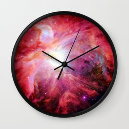 Orion nebulA. : Colorful Red Wall Clock