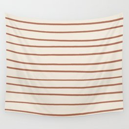 Inspired By Cavern Clay Sw 7701 Hand Drawn Thin Horizontal Lines on Creamy SW7012 Wall Tapestry