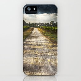 country lane, gravel road, tuscany, grape iPhone Case