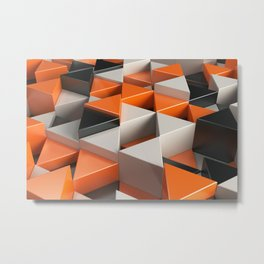 Pattern of black, white and orange triangle prisms Metal Print