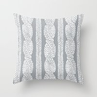 Cable Grey Throw Pillow