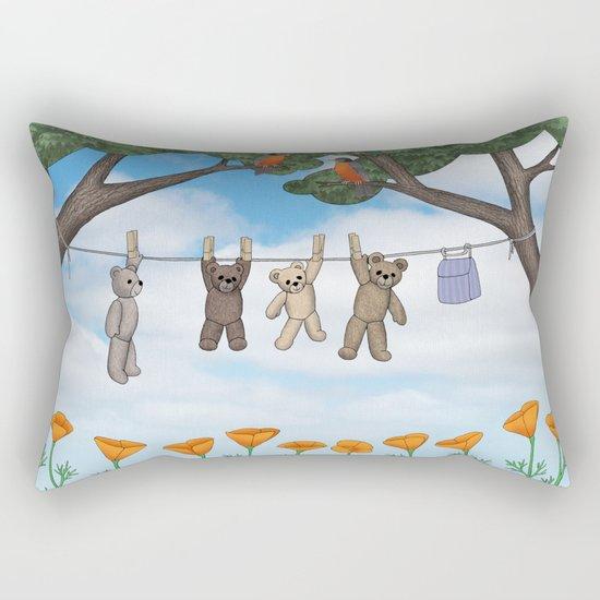 robins, poppies, & teddy bears on the line Rectangular Pillow