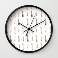 rabbits Wall Clocks featuring Rabbits  by Katy Shorttle