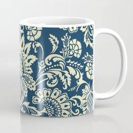 damask in white and blue vintage Coffee Mug